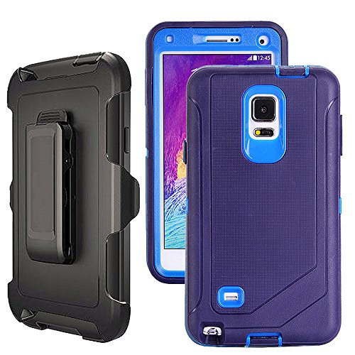 Galaxy Note 4 Case Heavy Duty,Harsel Defender Series Shockproof Dustproof Dropproof 3 Layer Rugged Protective Shell Case w/ Built-in Screen Protector & Belt-clip for Samsung Galaxy Note 4 (Navy)