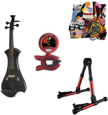 Meisel violín eléctrico Pack Negro w/rojo soporte, sintonizador y ...