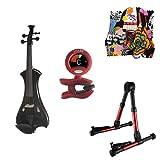 Meisel Electric Violin Pack Black w/Red Stand, Tuner & Skull Rosin