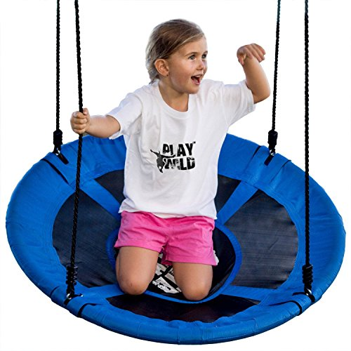"Play Wild 40"" Round Saucer Tree Swing Set - Attaches to Trees or Existing Swing Sets - Create Your Own Outdoor Backyard Playground - Adjustable Hanging Ropes - for Kids, Adults and Teens - Blue"