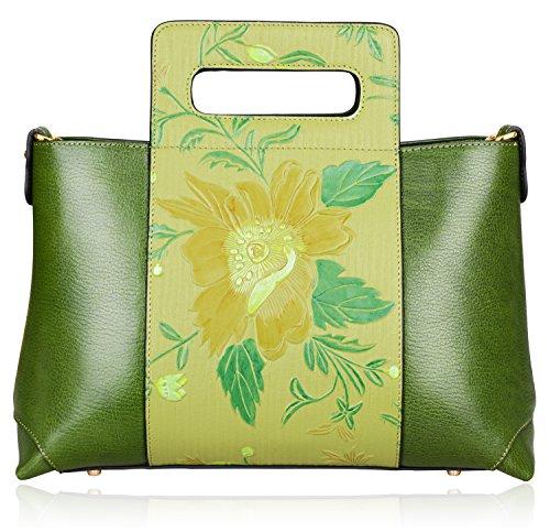 Pijushi Designer Genuine Leather Top Handle Cross Body Bag Tote Handbags for Women 65443(size 13.5'', Green) by PIJUSHI
