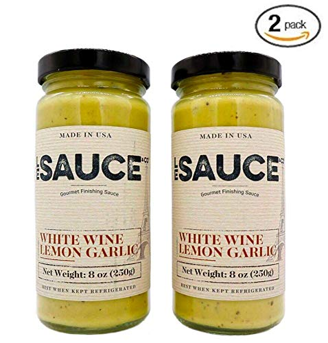 - Le Sauce Gourmet Lemon White Wine Garlic Finishing Sauce, low sugar, great on chicken, vegetables, fish, foodie approved. Cream, butter, yum (2-Pack)