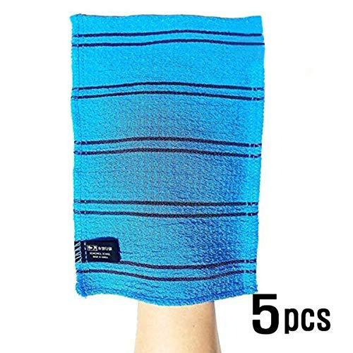 Songwol Korean Exfoliating Towel Large Viscos Bath WashCloth Scrub Gloves 5 pcs - Blue