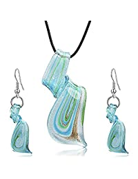 Friend Italian Murano Style Glass Tornado Twirl Quality Fashion Earrings+Necklaces