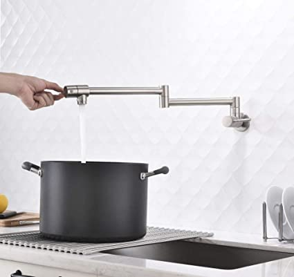 FZHLR Brushed Brass Kitchen Sink Faucetconly Cold Pot Filler Folding ...