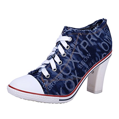 Boots C Sneakers Canvas Ankle Chunky Heel Women's Deep Lace Fashion High Rivet fereshte Blue up wvEPE8