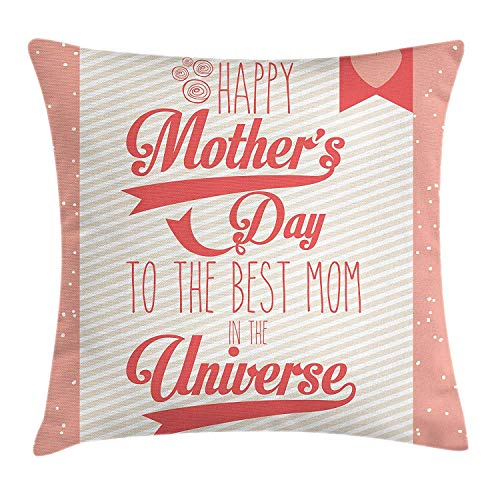 (WCMBY Mothers Day Throw Pillow Cushion Cover, The Best Mom in The Universe Diagonal Stripes and Dots Backdrop, Decorative Square Accent Pillow Case, 18 X 18 inches, Coral Eggshell Dark Coral)