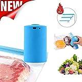 GRAWILLE Mini Automatic Compression Vacuum Pump USB Handheld Vacuum Sealer Electric Portable Cordless Food Saver Vacuum Sealer Machine for Home Kitchen Travel Use, with 5 Pcs Sealer Bag