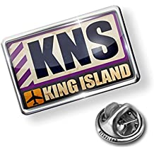 Pin Airportcode KNS King Island - Lapel Badge - NEONBLOND