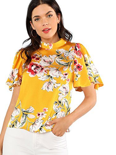 Romwe Women's Floral Print Butterfly Sleeve Mock Neck Casual Blouse Top Yellow Medium