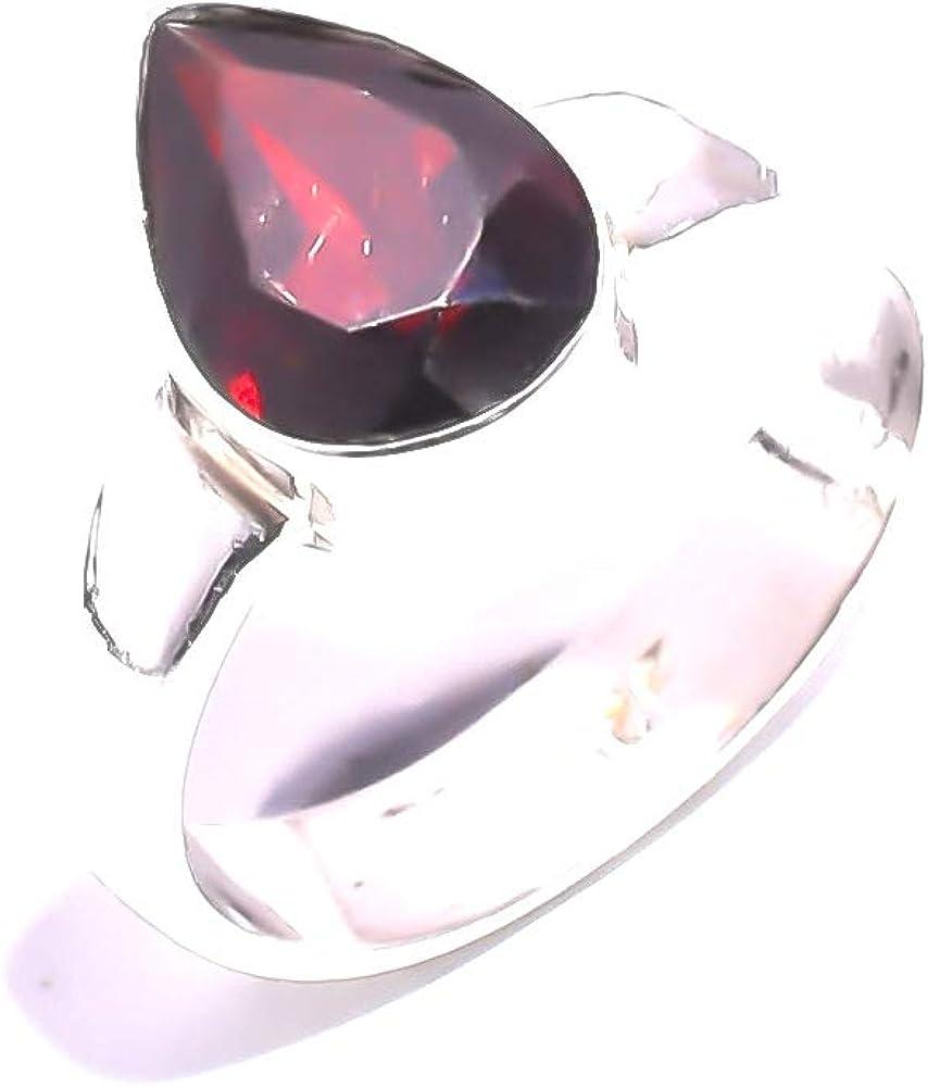 mughal gems /& jewellery 925 Sterling Silver Natural Kashmir Ruby Gemstone Fine Jewelry Ring Size 6.25 U.S