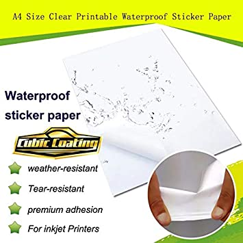 Amazon.com: Papel adhesivo impermeable transparente tamaño ...