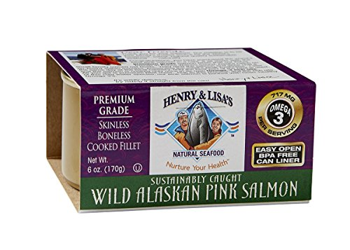 Henry & Lisas Natural Seafood Wild Alaskan Pink Salmon, 6-Ounce Cans (Pack of 4)