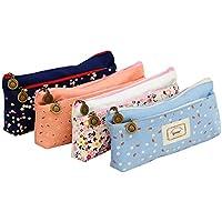 Estuche para bolsa de bolsa de papelería, pluma, lienzo floral de lona floral de IPOW, pastoral, juego de 4