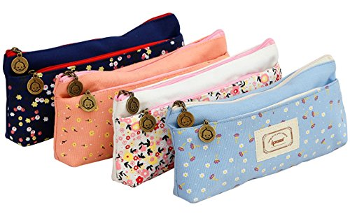 IPOW Flower Floral Canvas Cosmetic Pen Pencil Stationery Pouch Bag Case, Pastoral, Set of 4 -