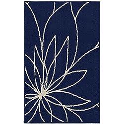 Garland Rug Grand Floral Area Rug, 30 x 46, Indigo/Ivory
