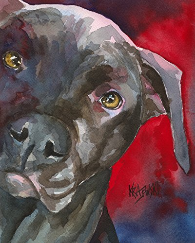 Pitbull Dog Fine Art Print on 100% Cotton Watercolor Paper Pit ()