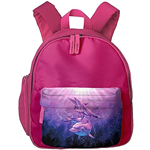 Dolphin Kid's Shoulder Backpack School Backpack For Teens Boys Girls Students Pink (Violin Size 1 2 Oxford)