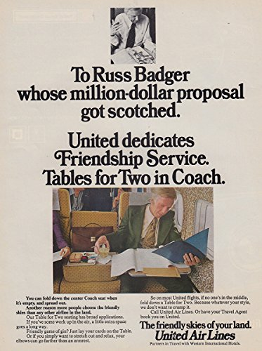 1973 United Airlines: Russ Badger, Friendship Service Tables, United Airlines Print (Badger Airline)