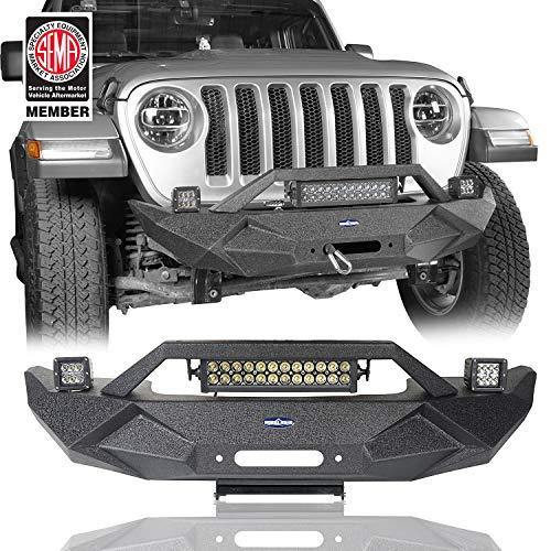 Hooke Road Steel Stubby Front Bumper w/Winch Plate & Fog Lights + Light Bar for Jeep Wrangler JL 2018 2019 2020 (72 Dollar Membership)