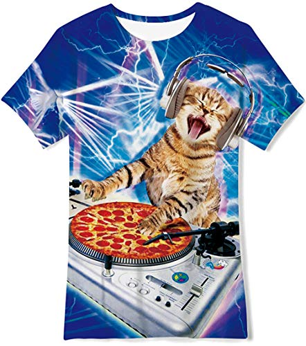Youth Kids Crewneck Tees Funny Printed Graphic T-Shirts Music Cat Short Sleeve Blue White Polyester Tops Clothing Boys Birthday Shirt Girls Party Gifts Size M (Best Music For Cats)