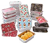 iEnjoyware Christmas Treat Foil Containers, Set of 24 (24) - 4 Holiday Designs, Snowman Festive Cover Print, Aluminum Food Containers for Gifts of Homemade Treats, Secure Closing to Keep Fresh