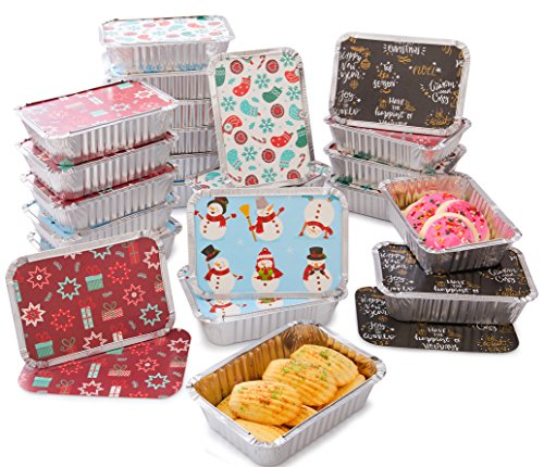 Christmas Treat Foil Containers, Set of 24 (24) - 4 Holiday Designs, Snowman Festive Cover Print, Aluminum Food Containers For Gifts Of Homemade Treats, Secure Closing To Keep Fresh