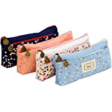 IPOW BD02 Flower Floral Canvas Cosmetic Pen Pencil Stationery Pouch Bag Case, Pastoral, Set of 4