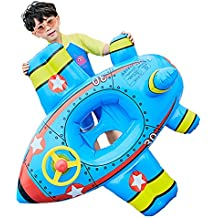 Swimming Pool Float for Kids. Botitu Blue Inflatable Baby Float with Airplane Pattern Ride on and Steering Wheel Swim Seat, Suitable for 1-6 Years Children Water Float Rider Pool Toy