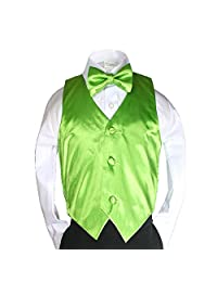Unotux 23 Color 2pc Boys Formal Satin Vest and Bow Tie Sets from Baby to 7 years (2T, Lime Green)