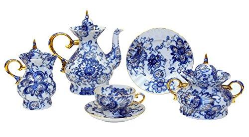 Lomonosov Porcelain Tea Set Singing Garden 22 pcs: Tea Pot, Sugar Bowl, 6 Cups with Saucers and 6 Cake Plates, Creamer and Fruit - Porcelain Creamer Lomonosov