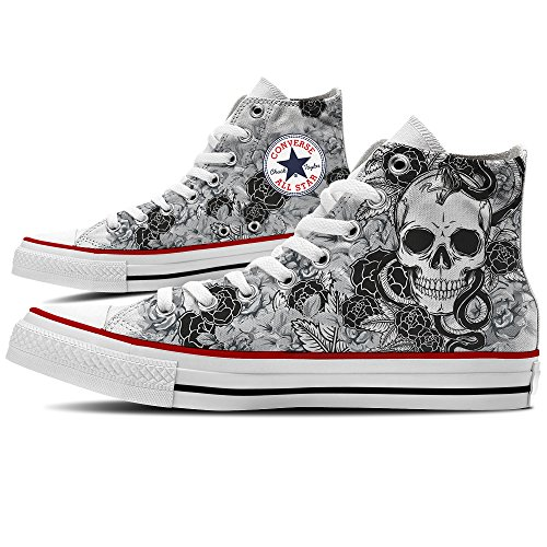amp; Yourstyle Sneaker Skull Roses Converse Scarpe Personalizzate By xOgqOvI