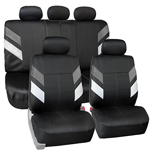 FH Group Neoprene Seat Covers Full Set Airbag Safe FB086GRAY115 (Semi-Universal Modern Edge)