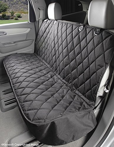 4Knines Dog Seat Cover Without Hammock for Cars, SUVs, and Small Trucks - Heavy Duty, Non Slip, Waterproof (Black)