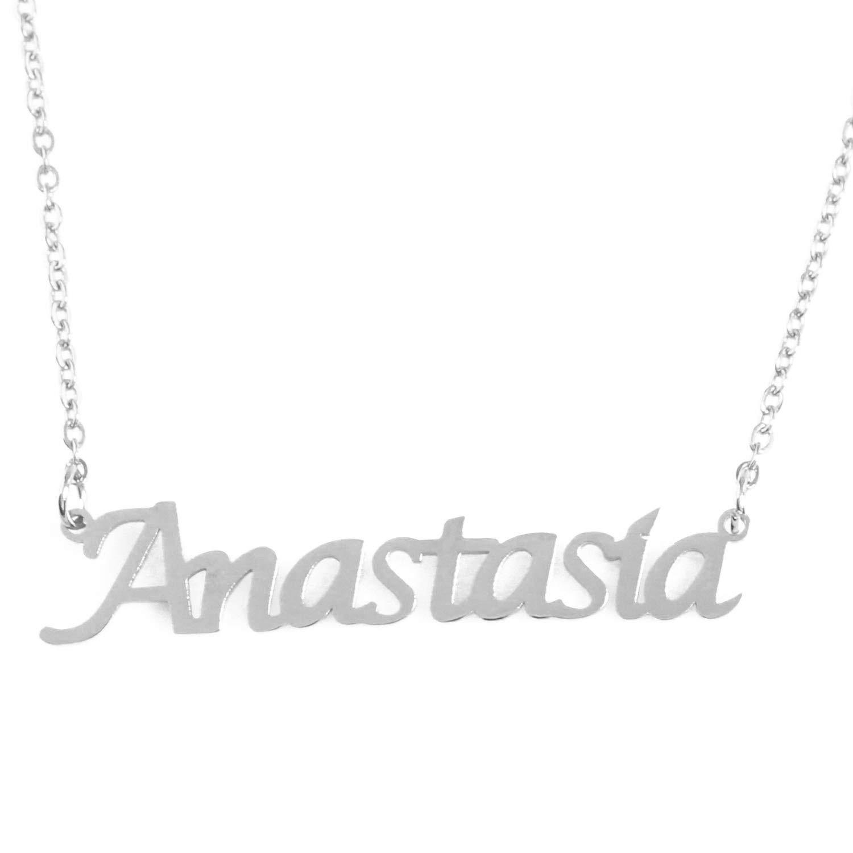 Zacria Anastasia Custom Name Necklace Personalized Silver Tone