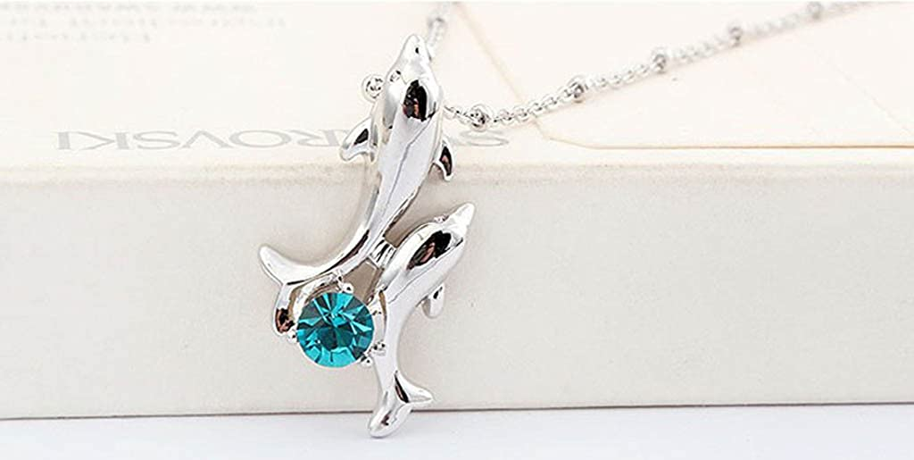 Rigant White Gold Plated Happy Play Dolphins with Round Cubic Zirconia Crystal Necklace Fashion Jewelry for Women