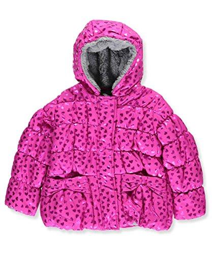 S. Rothschild Toddler Little Girls' 2-Pc. Foil Heart-Print Puffer Jacket Coat & Mittens Set