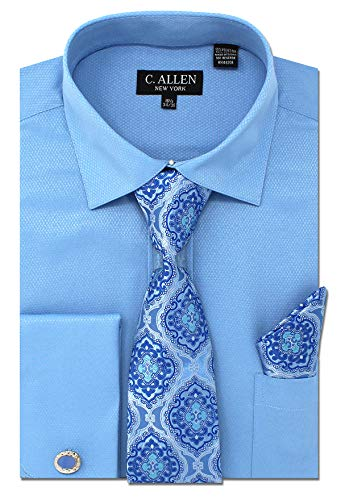 C. Allen Men's Solid Micro Pattern Regular Fit Dress Shirts with Tie Hanky Cufflinks Combo Blue