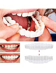 Snap Instant and Confident on Smile 2Pcs Comfort Fit Flex Cosmetic Teeth Denture Teeth Top Cosmetic Veneer (1Pc Top+1Pc Bottom+2pc Adhesive)