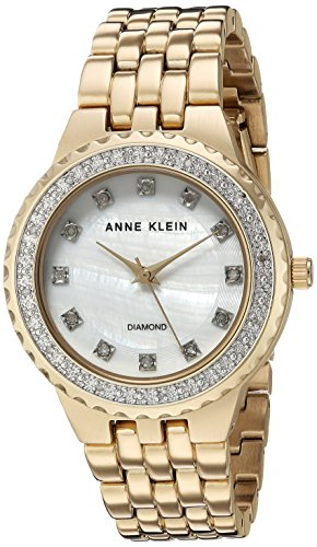 Anne Klein Women's AK/2760MPGB Diamond-Accented Gold-Tone Bracelet Watch