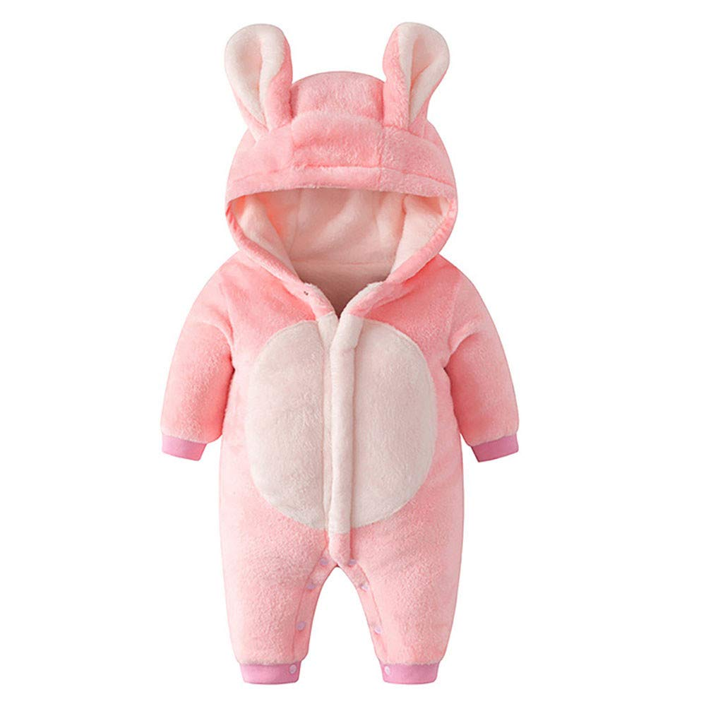 Newborn Baby Jumpsuit Outfit Hoody Coat Winter Infant Rompers Toddler Clothing Bodysuit Cartoon Pink by Yuege Baby Clothes