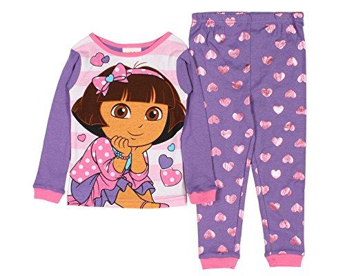 Dora the Explorer Little Girls Hearts Toddler Pajama Set (3T)
