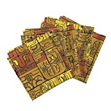 Roostery Tiki Tapa Aloha Hawaii Primitive Tahiti Marquesan Linen Cotton Dinner Napkins Von Den Steinen 2C by Muhlenkott Set of 4 Dinner Napkins