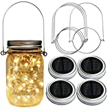 Homeleo 4 Pack 20LED Warm White Waterproof Solar Mason Jar Light Lid with Hangers for Regular Mouth Mason Jar Outdoor Garden Backyard Christmas Halloween Decoration(Jars NOT Included)