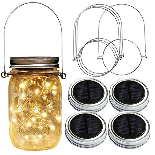Homeleo 4 Pack 20LED Warm White Waterproof Solar Mason Jar Light Lid with Hangers for Regular Mouth Mason Jar Outdoor Garden Backyard Christmas Halloween Decoration(Jars NOT Included) -