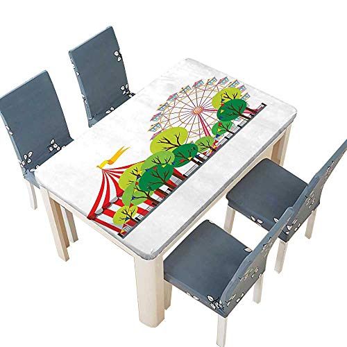 PINAFORE Polyester Tablecloth Table Cover Circus Carnival Scene with Ferris Wheel and Tree Images Cool Fun Park Artistic for Dining Room W41 x L80.5 INCH (Elastic Edge) -