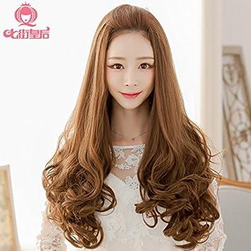 Amazon Com Semi Wig Long Curly Hair Wig Big Wave Of Hair