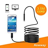 3.5M Flexible USB Inspection Camera Endoscope,Semi-rigid HD 1080P Waterproof Adjustable 6 Leds Snake Spy Camera Borescope for Galaxy S7 S8 Andriod Win 7 8 10 Tablet(11.5FT) by Newway