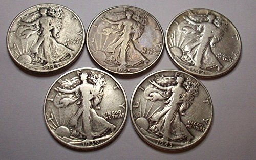 Count of 5 - Walking Liberty Half Dollar 5 Different Dates XF/VF 90% Silver Fine to Extra (Presidential Dollar Bu Roll)