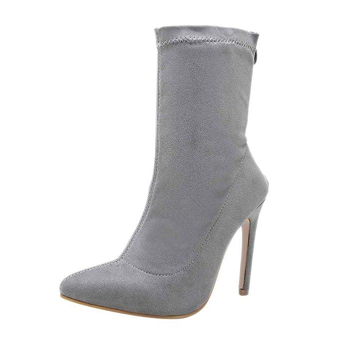 OSYARD Bottine Boots Femme Slip-on Talon Haut Aiguille Cuir Simili  Elastique  Amazon.fr  Chaussures et Sacs 78f6db4b046a